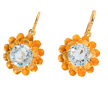 Summer's Morning:  Aquamarine Flower Earrings