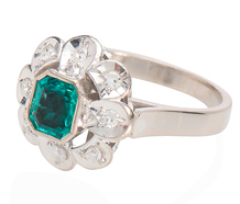 Emerald Power - Flower Diamond Cluster Ring