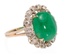 Envious Emerald Diamond Cluster Ring