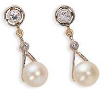 Luscious Edwardian Pearl Diamond Earrings