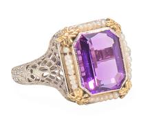 Ethereal Vintage Amethyst Pearl Filigree Ring