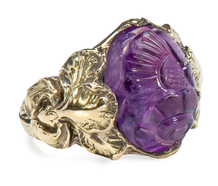 Art Nouveau Carved Amethyst Ring