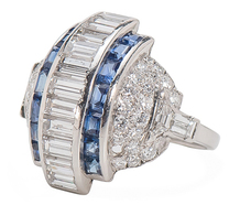 Spectacular Art Deco Diamond Sapphire Ring
