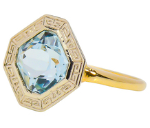 Key to Happiness in an Aquamarine Ring