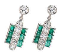 In Line Divine: Diamond Emerald Earrings