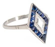 Pictured: Portrait Cut Diamond Sapphire Ring