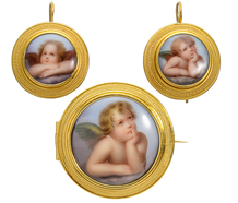 Antique Putti Brooch & Earring Set with Box