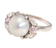 Natural Saltwater Pearl & Pink Diamond Ring