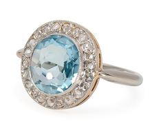 Oval Aquamarine Diamond Halo Ring