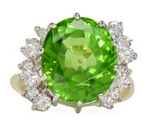 Double Daring - Peridot Diamond Ring