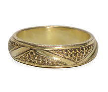 Medieval Silver Gilt  Incised Ring