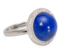 Art Deco Lapis & Diamond Dome Ring