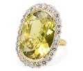 Amazing Green Citrine & Diamond Halo Ring