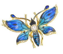 Drifting By - Enamel Blue Butterfly Brooch