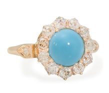 Antique Turquoise Diamond Halo Ring