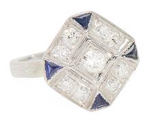 Designed & Artful Diamond Sapphire Ring