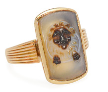 Antique Banded Agate Lion Cameo Ring