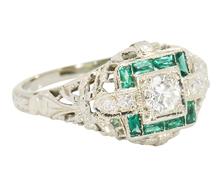 Signature Diamond Emerald Engagement Ring