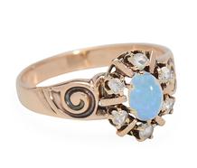 Diamond & Opal Ring in Rose Gold