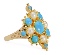 Needlework In Gold: Pearl Turquoise Ring