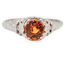 Vintage Fiery Orange Sapphire Ring