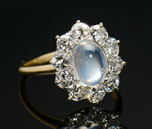 Moonstone Diamond Halo Ring