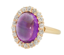 Aesthetic Angel: Amethyst Diamond Halo Ring