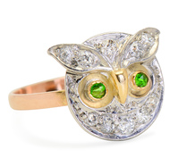 Feathered Friend - Owl Demantoid & Diamond Ring