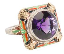 Egyptian Revival: Amethyst Enamel Ring