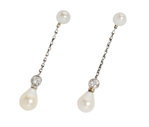 Natural Saltwater Pearl Earrings in Original Box