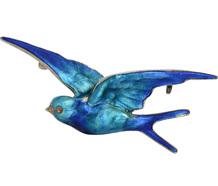 Fly Free: Blue Enamel Silver  Brooch