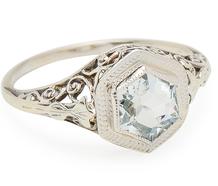 Vintage Aquamarine Filigree Ring