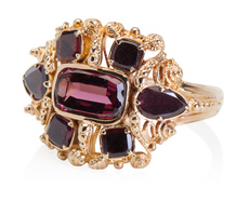 Cannetille Gold Georgian Ring with Garnets