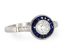 Diamond Sapphire Target Ring in Platinum