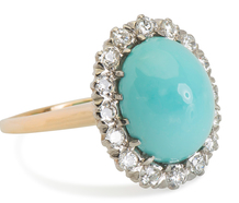 Breathtaking Turquoise Diamond Halo Ring