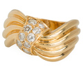 "Signed ""Fred"" Sculptural Diamond Ring"