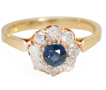 Blue Notes: Sapphire & Diamond Halo Ring