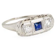 Blue Horizons - Diamond Sapphire Ring