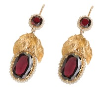 Articulated Garnet & Seed Pearl Earrings