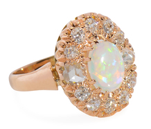 Art Deco Opal Diamond Halo Ring