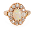 Art Deco Opal Diamond Halo Ring