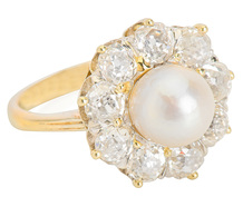 Moon & Stars in a Pearl Diamond Ring