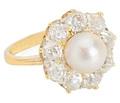 Moon & Stars in a Pearl Diamond Ring