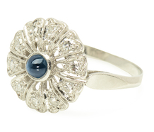 Petals of Platinum - Sapphire Diamond Ring
