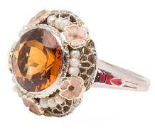 Glittering Gazebo - Citrine Pearl Ring
