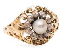 Pearls & Swirls in an Antique Diamond Ring