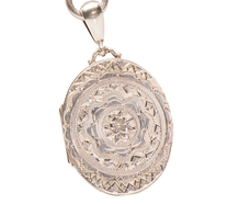 Victorian Sterling Book Chain & Locket