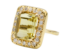 Modern Italian Citrine Diamond Ring