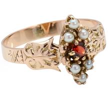 Silken Victorian Garnet Pearl Ring
