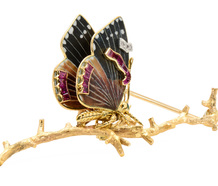 Contemplation - Ruby Enamel Butterfly Brooch